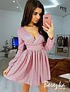Платье из люрекса с расклешенной юбкой и длинным рукавом 68plt633E, фото 5