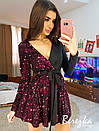 Платье с пышной юбкой и пайеткой на одной стороне 68plt635E, фото 2
