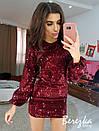 Платье из пайетки на велюре с рукавом фонариком 66plt644E, фото 4