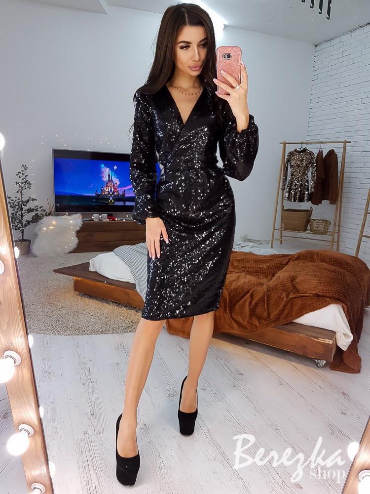 Платье футляр из пайетки с рукавом фонариком и верхом на запах 66plt647E