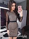 Короткое платье футляр из сетки в ромбик и с длинным рукавом 66plt649E, фото 2