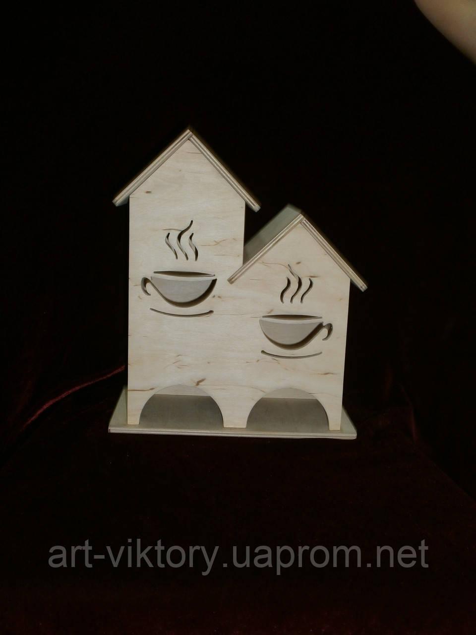 Дерев'яна коробка для чаю (заготівля) під декупаж подвійний (23 х 27 х 13,5 см)