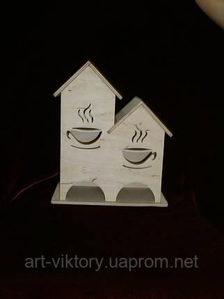 Дерев'яна коробка для чаю (заготівля) під декупаж подвійний (23 х 27 х 13,5 см), фото 2