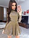 Платье из люрекса с расклешенной юбкой и длинным рукавом 66plt652E, фото 2