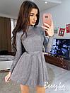 Платье из люрекса с расклешенной юбкой и длинным рукавом 66plt652E, фото 4