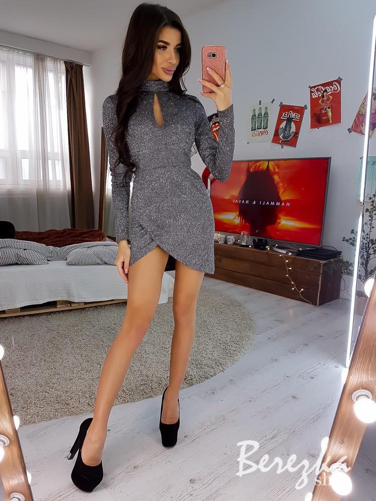 Платье из люрекса с вырезом каплей и асимметричной юбкой на запах 66plt654E