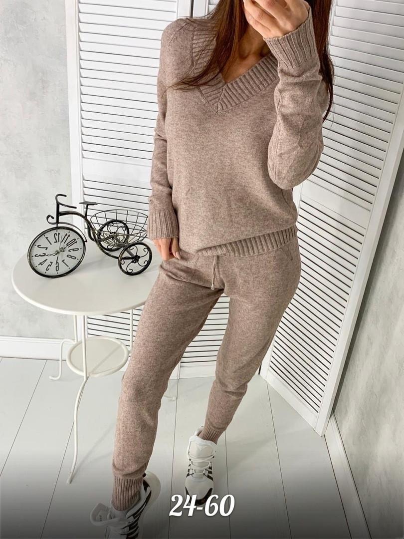 Женский вязаный теплый костюм с кашемиром и с V-вырезом горловины, штаны зауженные 79kos374
