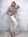 Женский вязаный брючный костюм с леопардовой кофтой и зауженными штанами 79kos379, фото 2