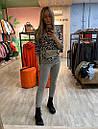 Женский вязаный брючный костюм с леопардовой кофтой и зауженными штанами 79kos379, фото 3