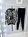 Женский вязаный брючный костюм с леопардовой кофтой и зауженными штанами 79kos379, фото 6