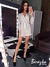 Женский нарядный ромпер из пайетки на сетке и с верхом на запах 66kos383Q, фото 2