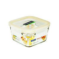 Уценка! Стеклянный контейнер для хранения и запекания с герметичной крышкой с креплениями Glasslock, 440 мл., квадратный (ORST-044)