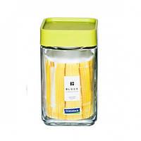 Уценка! Стеклянный контейнер-банка для хранения сыпучих продуктов и бакалеи с крышкой Glasslock Lego, 700 мл., квадратный, зеленый (IP-605)