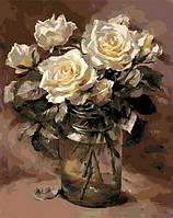 Картина по номерам цветы. Белые розы в банке 40 х 50 см (с коробкой), фото 1
