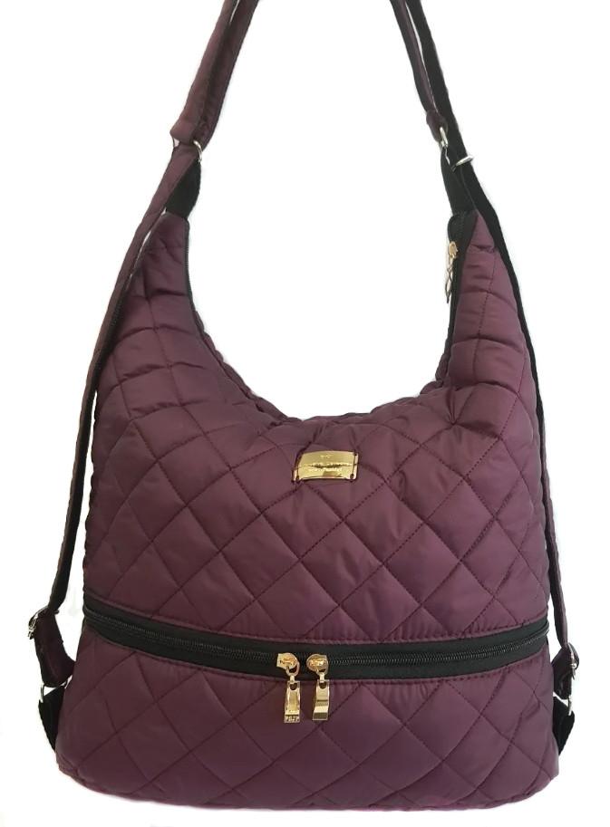 Дутая/стеганая зимняя женская сумка-рюкзак бордовая 1091879171