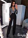 Женский костюм брючный с бои из пайетки и вырезом каплей и брюками клеш на высокой посадке 66kos385Q, фото 3
