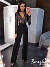Женский костюм брючный с бои из пайетки и вырезом каплей и брюками клеш на высокой посадке 66kos385Q, фото 4