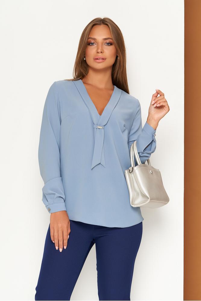 Темно-голубая женская блуза с галстуком-завязкой и v-образным вырезом