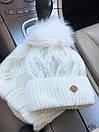 Женский набор снуд и шапка с подворотом и меховым помпоном 78gol209, фото 2