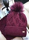 Женский набор снуд и шапка с подворотом и меховым помпоном 78gol209, фото 6