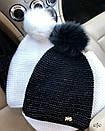 Теплая женская шапка на флисе с бубоном и снудом 78gol210, фото 3