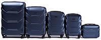 Комплект пластиковых чемоданов на 4 колеса Синий