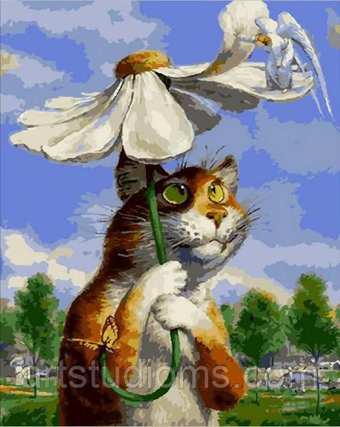 Картина по номерам животные. Кот с ромашкой 40 х 50 см (с коробкой)