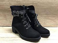 Ботинки женские МИДА 240027 черные,из натурального нубука на каблуке