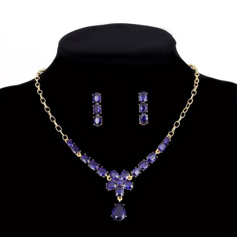 Комплект Кристалл Цветочек синий /серьги и колье/бижутерия/цвет золото, синий