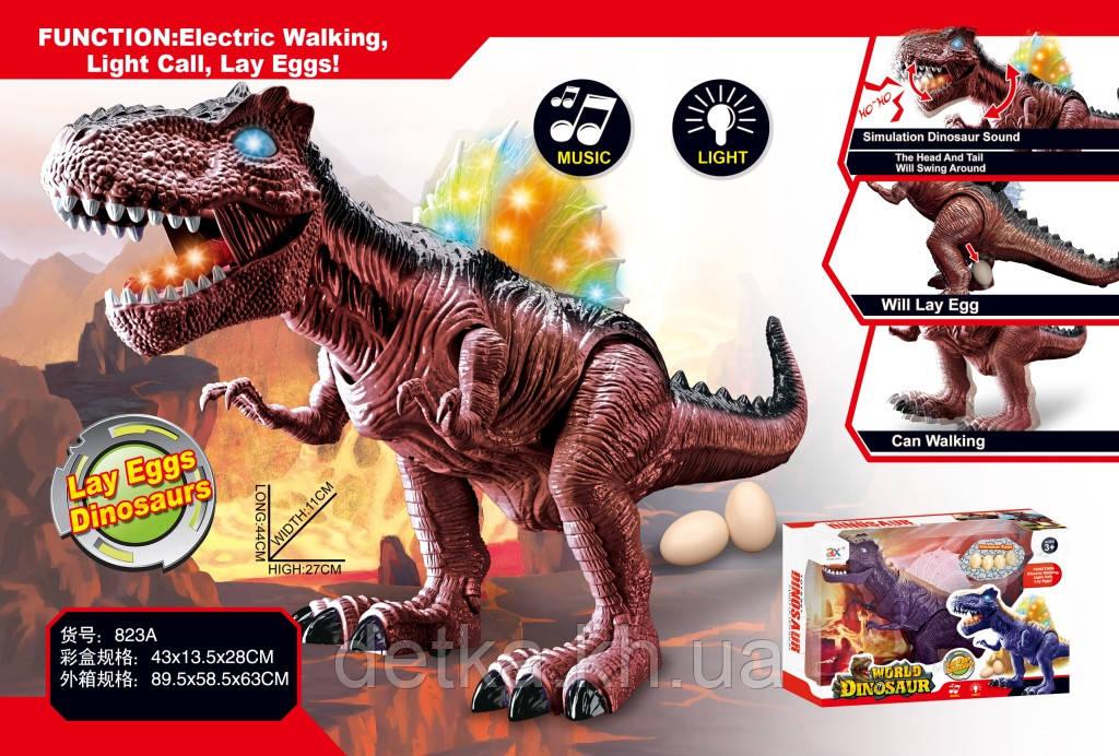 Динозавр 823A батар.муз.свет.несёт яйца.2цв.кор.43*13,5*28