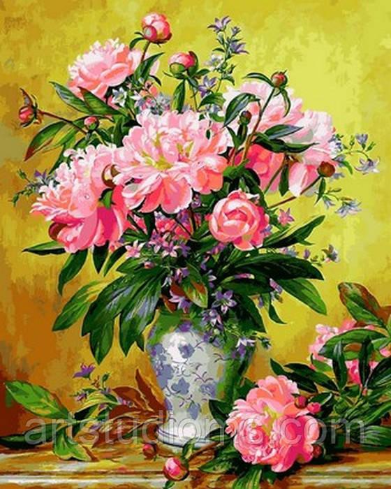 Картина по номерам цветы. Пионы в изящной вазе 40 х 50 см (с коробкой)
