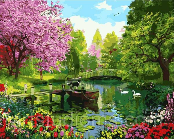 Картина по номерам природа. Вишневый сад 40 х 50 см (с коробкой)