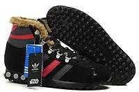 Зимние мужские кроссовки Adidas Jogging Hi Star Wars Chewbacca (адидас чубакка) с мехом черные