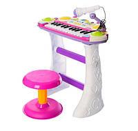 Детский орган пианино со стульчиком и микрофоном Joy Toy  Я музыкант Розовое 7235, КОД: 128638