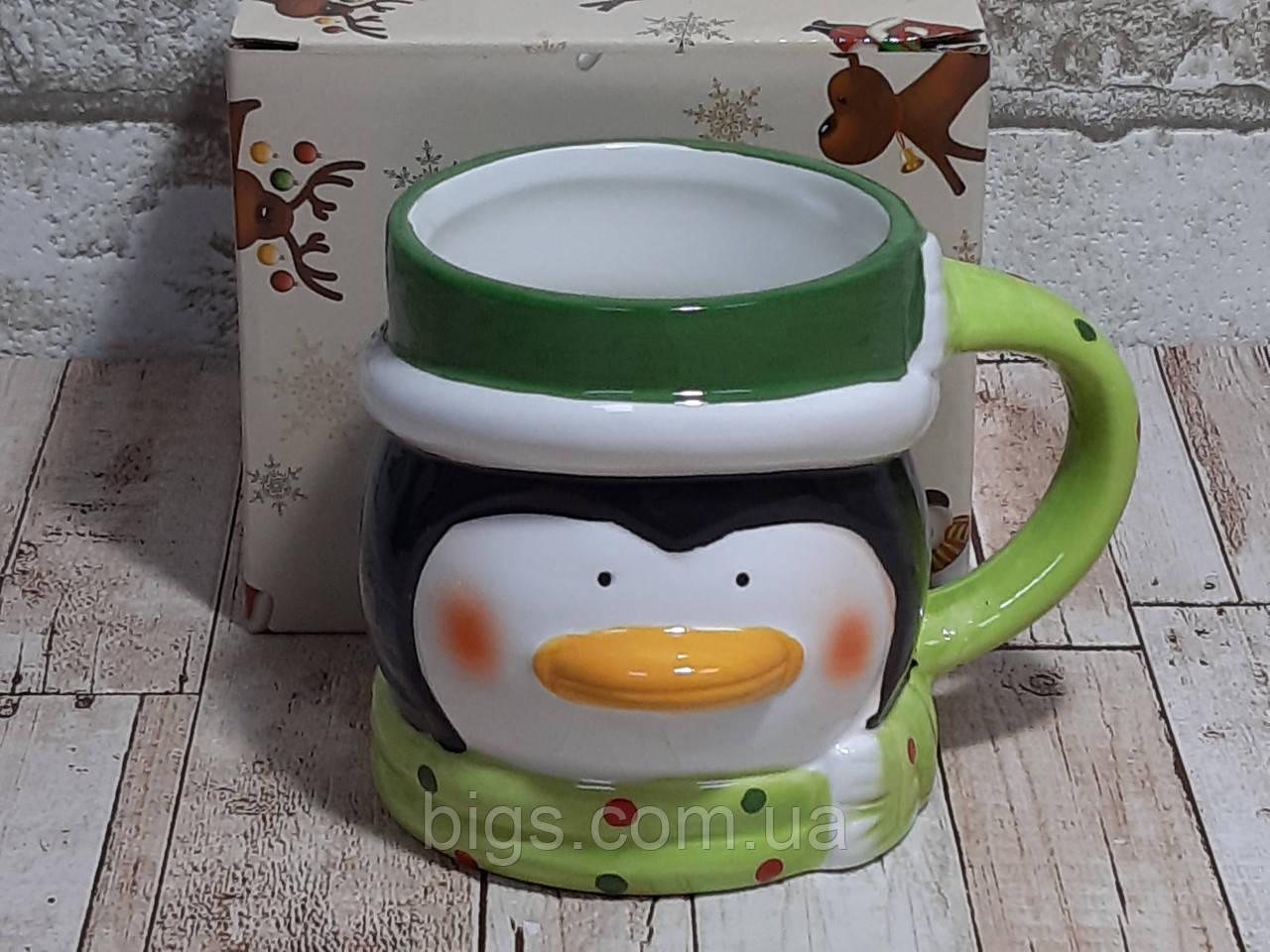 """Чашка пингвин новогодняя 380мл """"Санта"""""""
