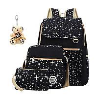 "Рюкзак 4 предмета (рюкзак,брелок,пенал,сумка) ""Белые звезды на черном"" LPNRR835988412"