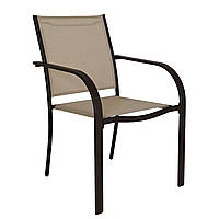 Стулья садовые Miami Stacking Brown and Linen Patio Chairs - Pack of 2., фото 1