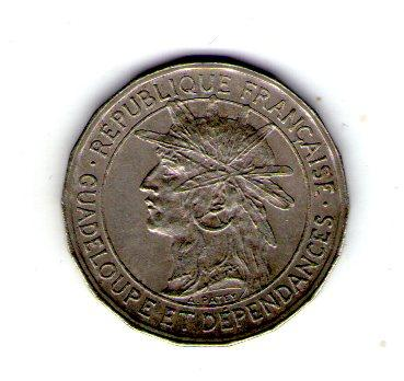 Гваделупа 50 сантим 1921 год редкая