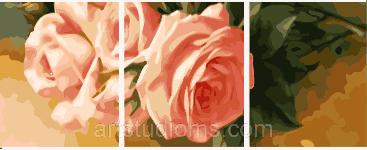 Картина по номерам Триптих. Нежные розы (вертикальная) Триптих 50 х 150 см (с коробкой)
