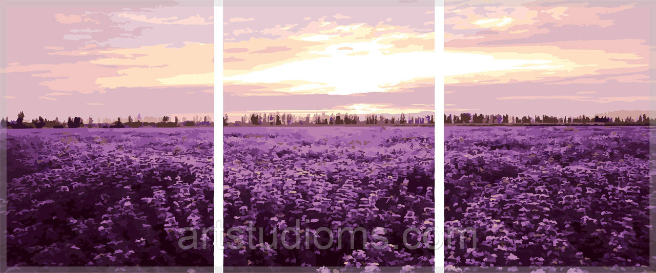 Картина по номерам Триптих. Лавандовое поле Триптих 50 х 150 см (с коробкой)