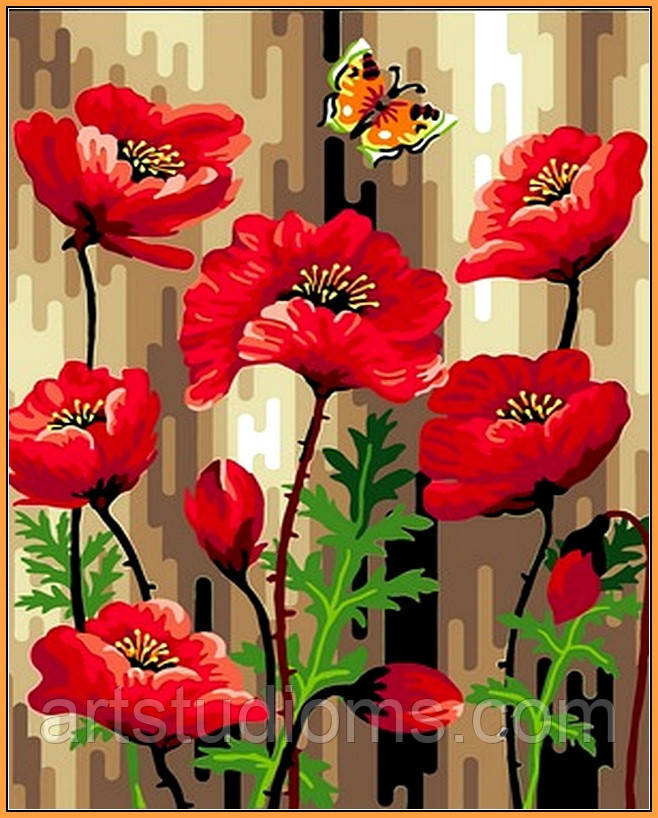 Картина по номерам цветы. Летние маки (в раме) 40 х 50 см (с коробкой)