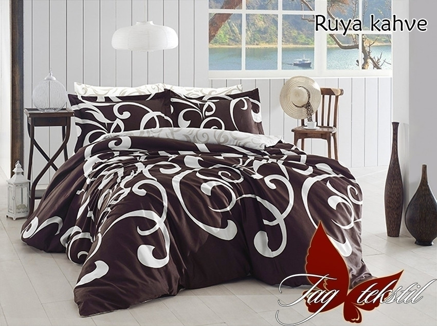 Постельное белье ранфорс 100% хлопок с компаньоном Ruya kahve Семейный