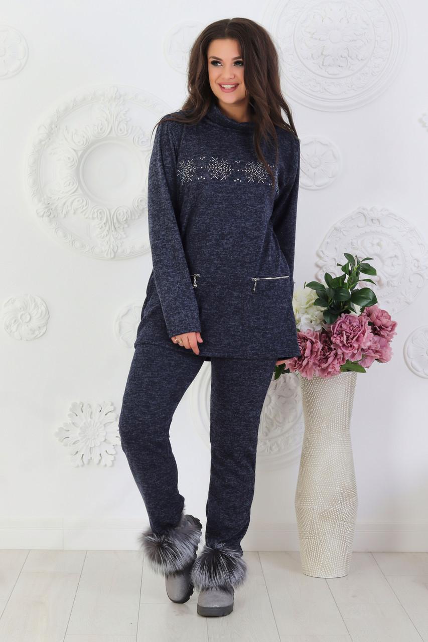 Собственное производство / Женский повседневный костюм со снежинками из ангоры, размеры от 48 до 62, подарок на новый год