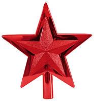 Верхушка на елку, 25,5 см, Звезда, пластик, цвет красный