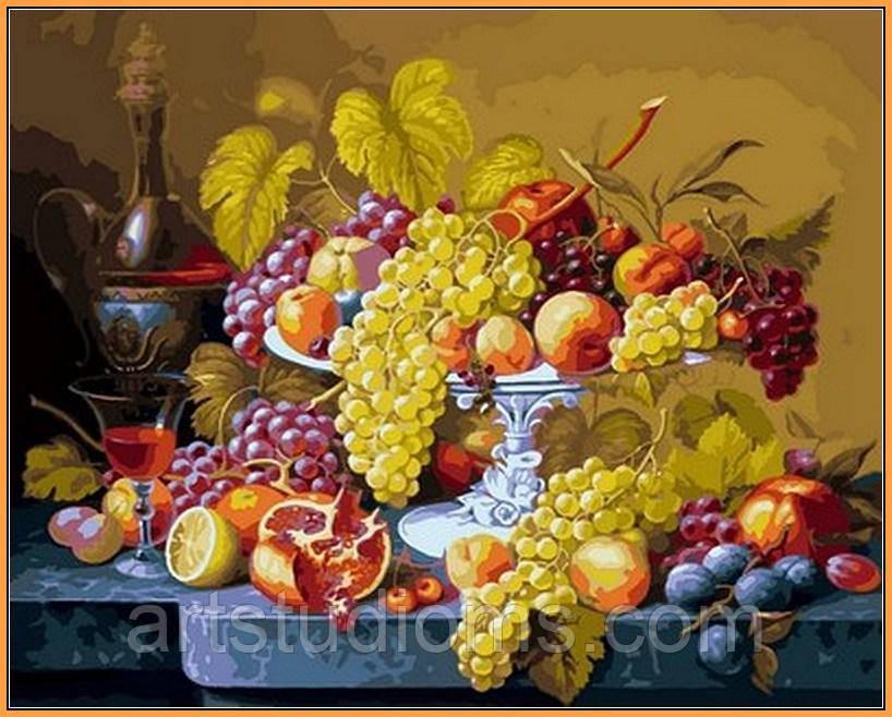 Картина по номерам цветы. Роскошный виноград (в раме) 40 х 50 см (с коробкой)