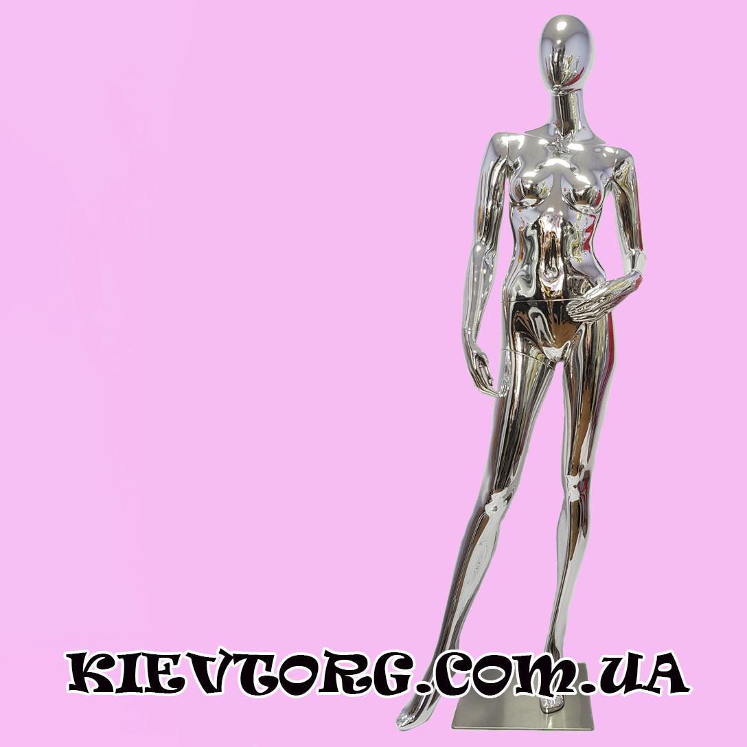 Манекен женский для витрины магазина одежды серебрянный зеркальный (+ Видео)
