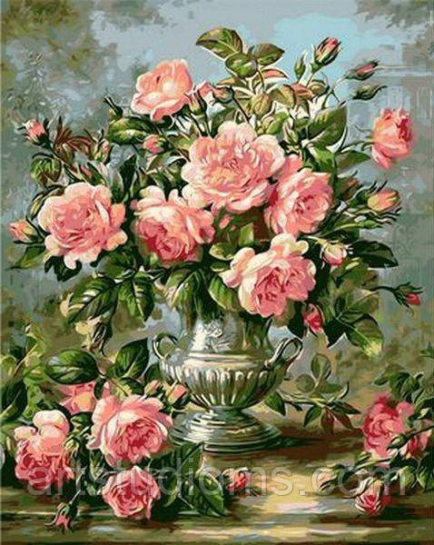 Картина по номерам цветы. Розы в серебряной вазе 50 х 65 см (с коробкой)
