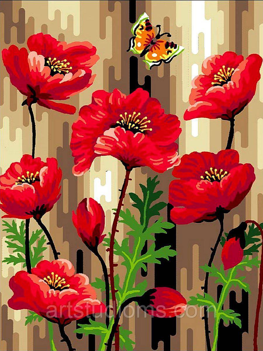 Картина по номерам цветы. Летние маки 30 х 40 см (с коробкой)