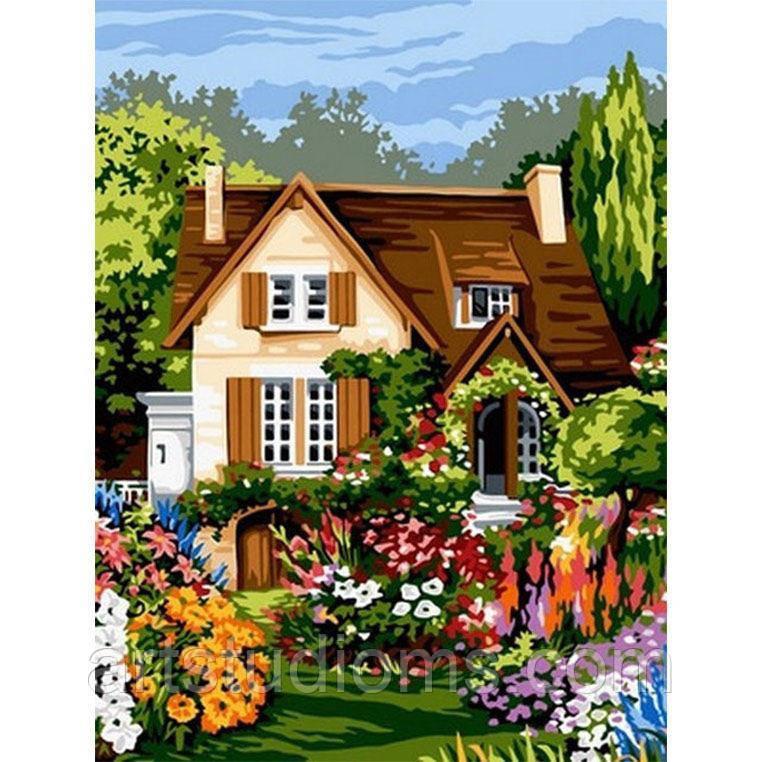 Картина по номерам природа. Домик среди цветов 30 х 40 см (с коробкой)