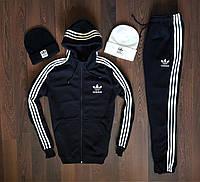 Спортивный костюм зимний мужской до - 25*С в стиле Adidas Originals X black ЛЮКС качество